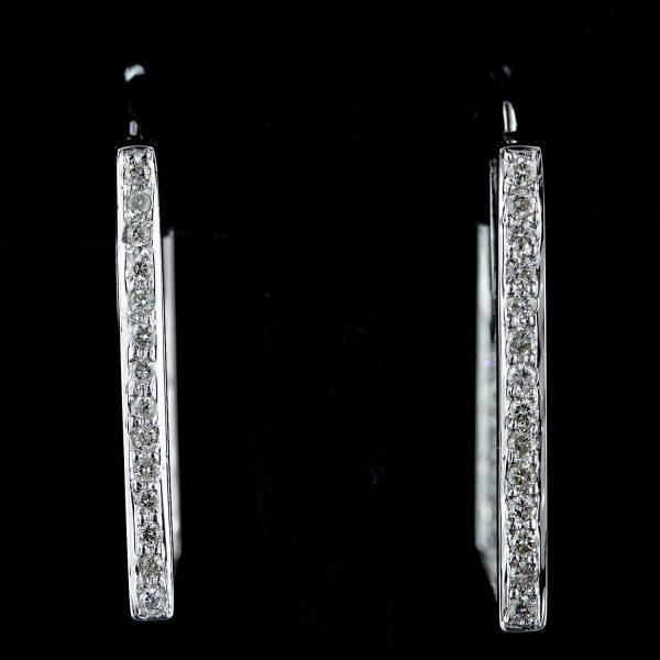 1,10 ct. diamant & 14K hvidguldørestikker VS/G